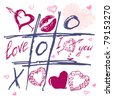 Tic Tac Toe Hearts, Valentine background. The valentine's day. Love heart. Hand-drawn icons symbols. Art vector illustration.  Print for textile. - stock vector