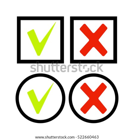 Tick and cross icons. Check and cross mark - vector illustration