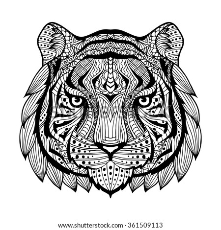 Psychedelic tiger isolated stock vector 114470512 - Mandalas de tigres ...
