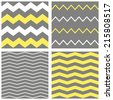 Tile vector chevron pattern set with yellow, white and grey zig zag background - stock