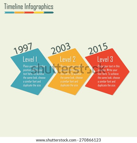 Timeline Infographics template. Isolated design elements. Colorful vector illustration.