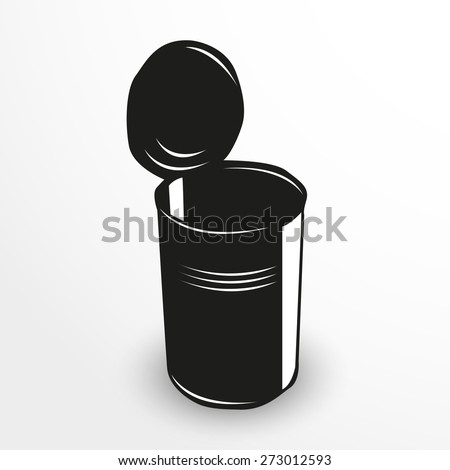 Tin can. Vector illustration. Black and white view.