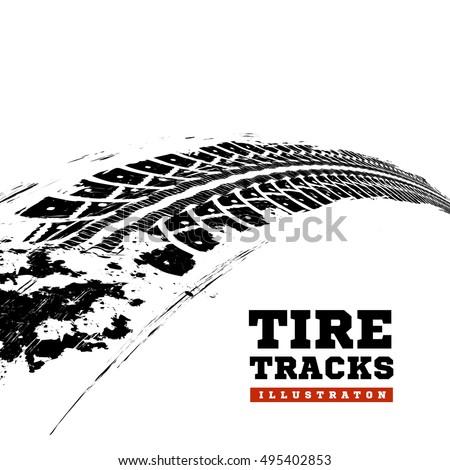 tire tracks vector illustration on white stock vector 495402853
