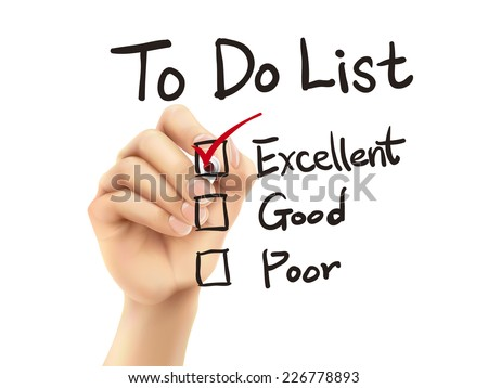to do list checking by 3d hand over white background