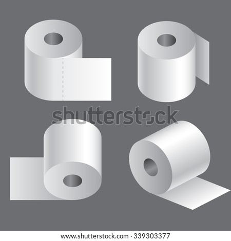Vector Tissue Roll Icons Set Flat Stock Vector 349989014 ...