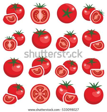 Tomato vegetable icon collection - vector illustration