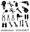 Tools - set of isolated vector icons. Black pictogram on white background. - stock vector