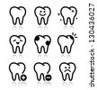 Tooth , teeth vector icons set - stock photo