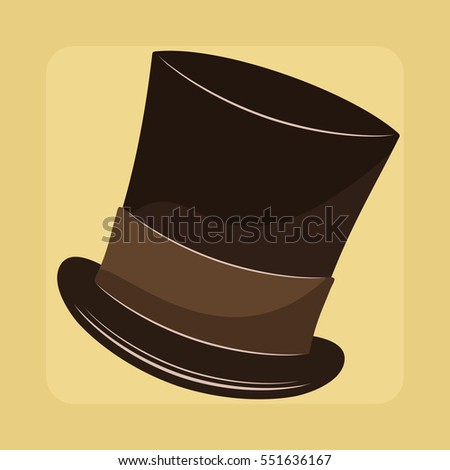 Top hat, vintage style vector illustration.