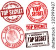 Top secret grunge stamp collection on white background, vector illustration - stock photo