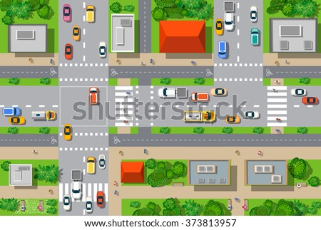 Top view of the city from the streets, roads, houses, and cars