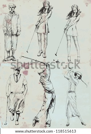 Topic: Golf - collection of golf players (men and women). Collection of drawings (each on a separate layer) on vintage paper in blue color (the paper is separated in the lower layer).