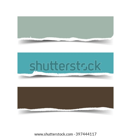 Torn paper with ripped edges vector web banners set. Torn paper stripes and pieces. Template torn paper dividers, ripped paper headers for website
