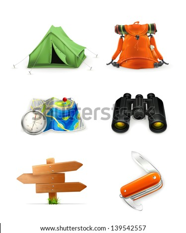 Tourism icon set, vector