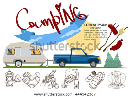 Tourism logo. Hiking, climbing, traveling color illustration.