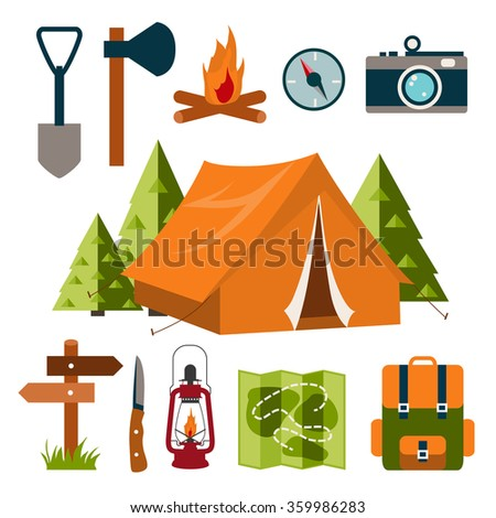 Tourist equipment in flat style. Camping. Vector illustration.