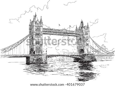 Tower Bridge in London, hand-drawing, vector illustration.