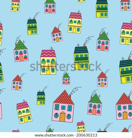 Town from houses seamless texture on blue