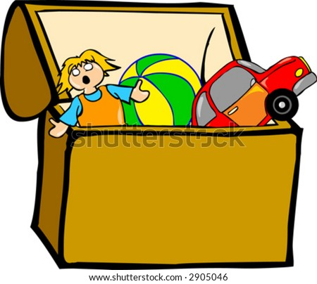 Toy Box Clip Art Toy chest - stock vector