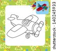 Toy plane. Coloring page. - stock photo