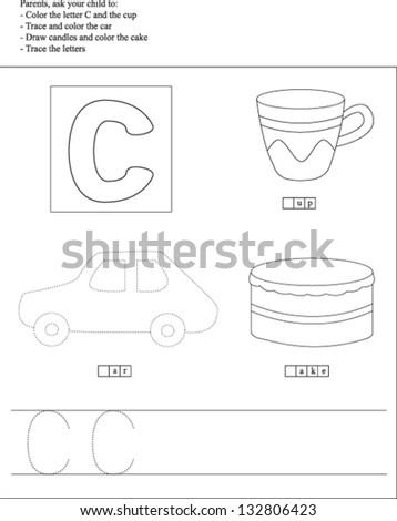 Trace Color Letter C Worksheet Preschoolers Stock Vector 132806423 ...