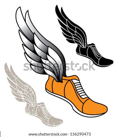 Track Athletic Sports Running Shoe Logo Stock Vector 136290473 ...