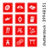 Traditional japanese culture objects vector icon set in red - stock vector