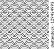 Traditional japanese waves ornament in black and white seamless pattern, vector - stock vector