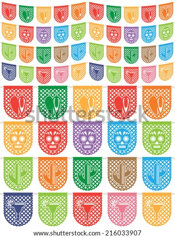traditional mexican paper bunting (papel picado) decorations, chilli pepper, skull, cactus and margarita, isolated on white