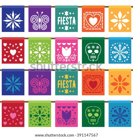 traditional mexican style paper bunting in two styles, isolated on white