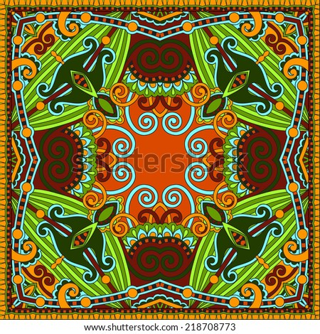 Traditional ornamental floral paisley bandanna. Square ornament. You can use this pattern in the design of carpet, shawl, pillow, cushion, vector illustration