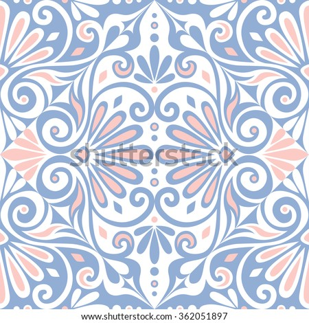 Traditional  seamless vintage pink, white and blue square floral Greek ornament, Meander