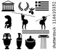 Traditional symbols of Greece on white background, vector illustration - stock vector