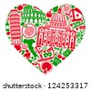 Traditional symbols of Italy in the form of heart - stock vector