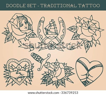traditional tattoo doodle set
