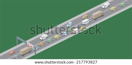 Traffic jam left hand drive vehicles
