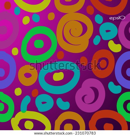 Transparent  pattern of colored doodles, bagels, spirals  on a gradient  pink background. Handmade.