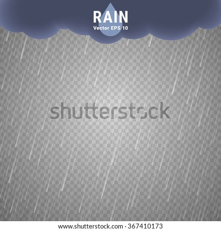 Transparent Rain Image. Vector Rainy Cloudy background