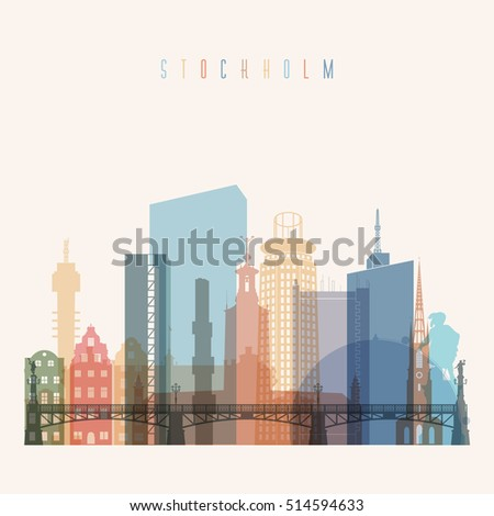 Transparent styled Stockholm skyline detailed silhouette. Trendy vector illustration.