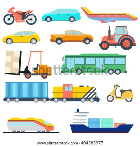 Transport flat icon. Perfect flat car ship and plane icons. Vector illustration.