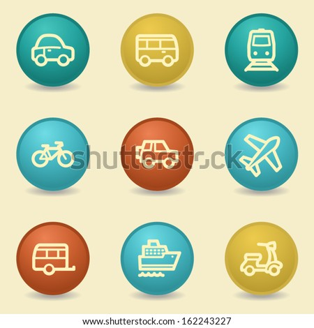 Transport web icons, retro buttons