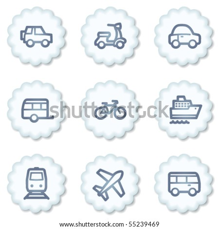 Transport  web icons, white buttons