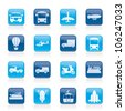 Transportation and travel icons - vector icon set - stock vector