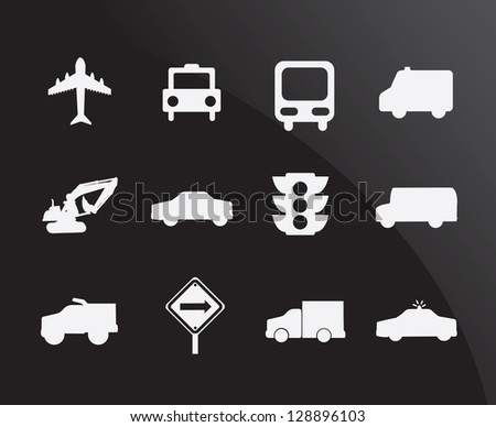 Transportation icons over black background vector illustration