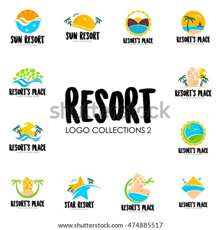 Travel Agency Tropical Resort Beach Hotel Spa Summer Vacation Symbol Logo