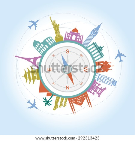 Travel and tourism background and infographic . Travel and Famous Landmarks. Travel concept with stylish icons.