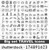 Travel and tourism vector icon on white background - stock vector