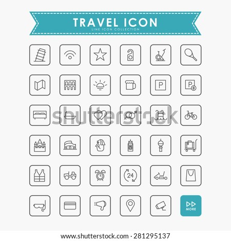 travel and vacation minimal outline icons