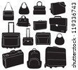 Travel bags and suitcases collection - vector - stock photo