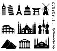 Travel famous landmarks and monuments in black - stock vector